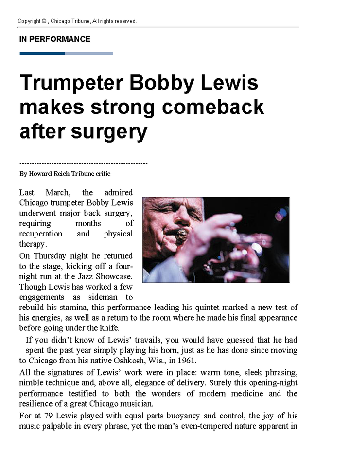 Trumpeter Bobby Lewis makes strong comeback after surgery Page 1